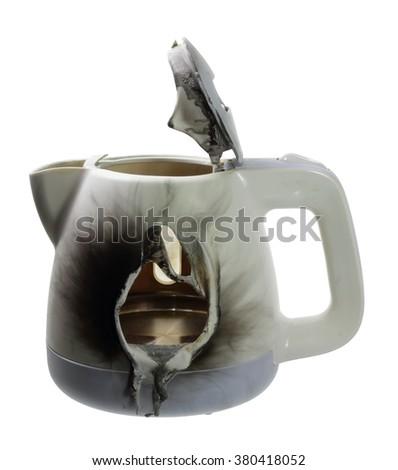 Broken Kettle on White Background - stock photo