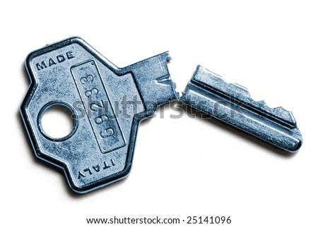 Broken key isolated on white background - stock photo