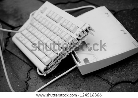 broken keyboard - stock photo