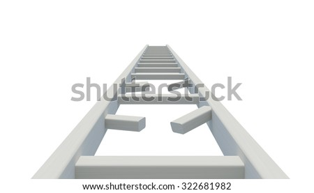 Broken ladder to sky - stock photo