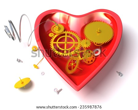 Broken mechanical heart  or red clock like heart with open clockwork. Conceptual and metaphorical 3d illustration isolated on white background - stock photo