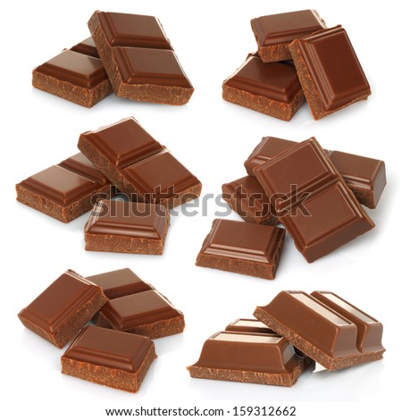 Broken milk chocolate bar set isolated on white background   - stock photo