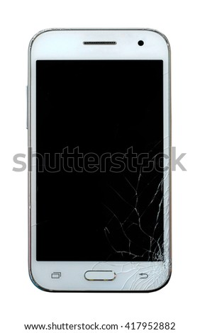 broken mobile phone isolated on white background (whit clipping path) - stock photo