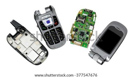 Broken Mobile Phone on White Background - stock photo