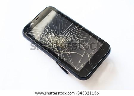 Broken mobile screen - stock photo