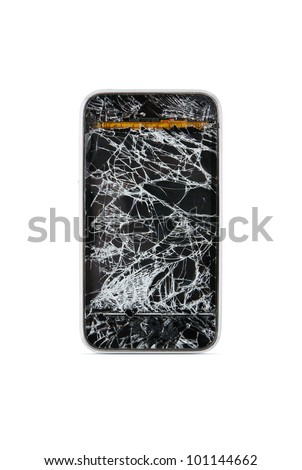 Broken mobile smart phone isolated on white background - stock photo