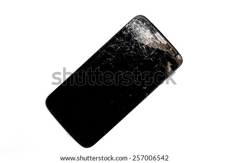 Broken mobile smart phone isolated on white background
