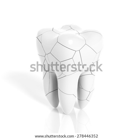 Broken molar tooth isolated on white background - stock photo