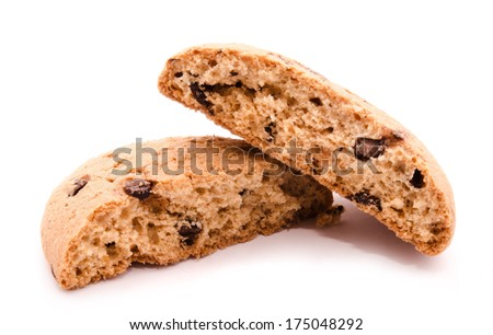 Broken oatmeal cookies with chocolate drops isolated on white background  - stock photo