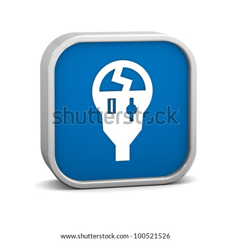 Broken parking meter sign on a white background. Part of a series. - stock photo