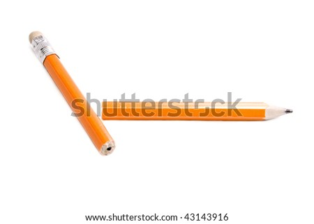 Broken pencil isolated on the white background