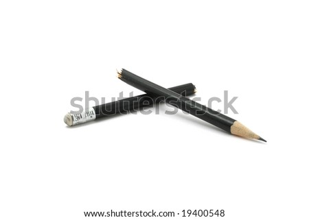 broken pencil isolated on white background
