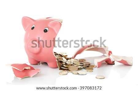 Broken piggy bank isolated on white background - stock photo
