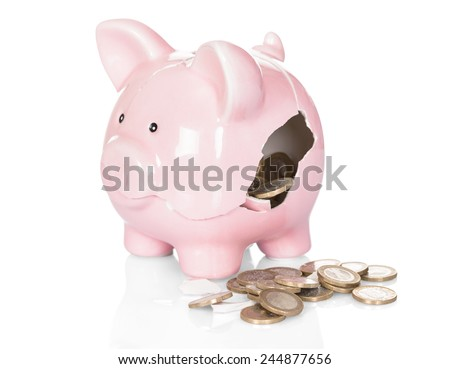 Broken Piggy Bank With Money Over White Background - stock photo