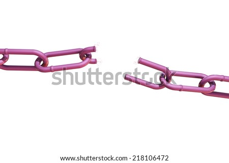 broken pink chain isolated on white background - stock photo