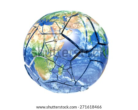 broken planet earth on a white background - stock photo