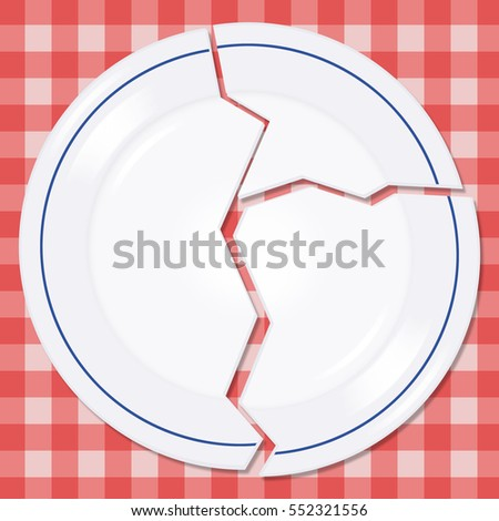 Broken plate on a picnic tablecloth