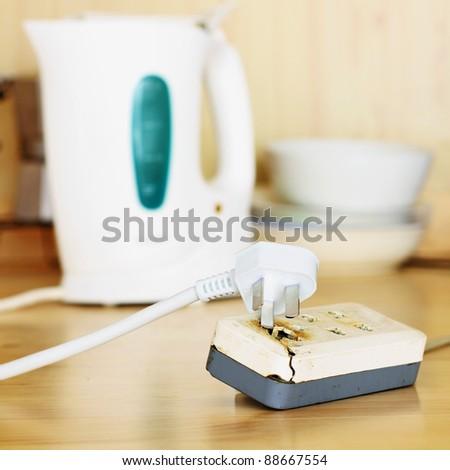 Broken Power Strip - stock photo