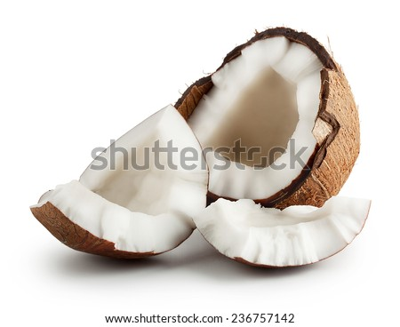 Broken raw ripe coconut isolated on white background - stock photo