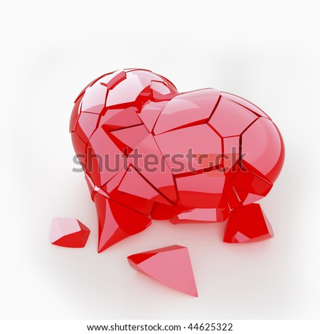 Broken red heart - stock photo