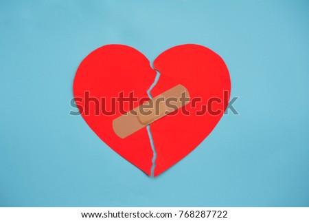 Broken Red Heart Taped Again White Stock Photo 768287722 Shutterstock
