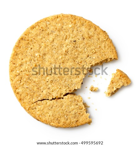 Broken Scottish oatcake isolated on white from above.