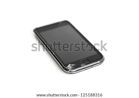 Broken Smart Phone. Isolated smart phone with broken glass on white background
