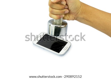 Broken smart phone smashed by  dumbbell for emotion concept. - stock photo