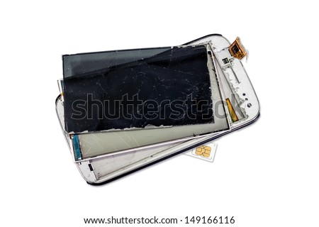 Broken smart phone with sim card  isolated on white background - stock photo
