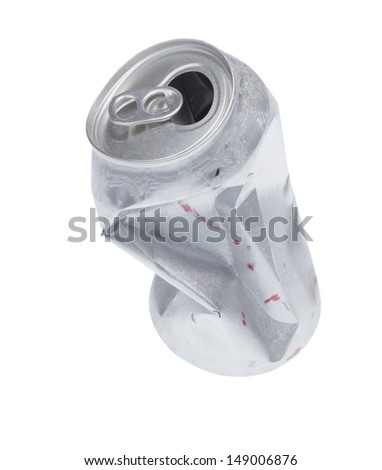 Broken soda can isolated on white background