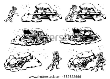 Broken, stuck car, winter, illustration, black and white, graphic, isolated, design elements