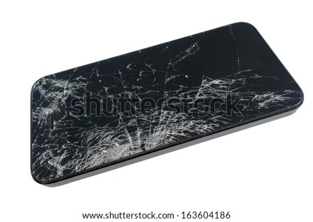 Broken Touch Screen Glass of Tablet Computer or Smartphone, isolated on white - stock photo