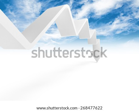 Broken trend line with arrow on the end is going down, 3d illustration with cloudy sky photo background - stock photo