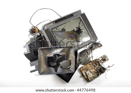 broken tv - stock photo