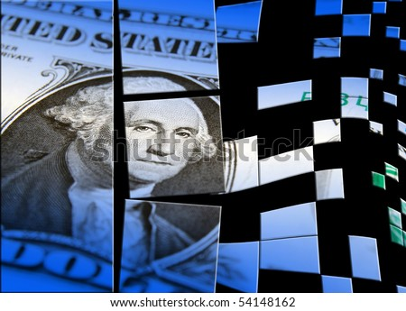 Broken US dollar note with blue overlay - stock photo