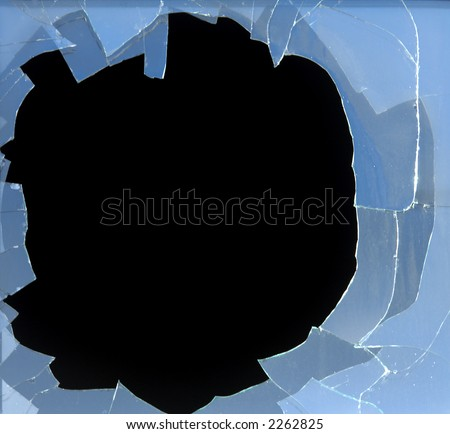 broken window with dark background - stock photo