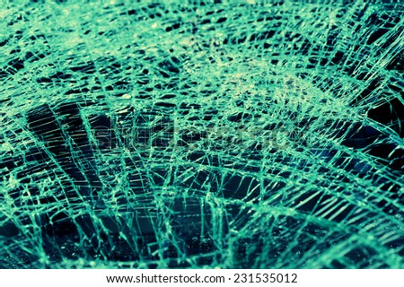 broken windshield in car accident  - stock photo