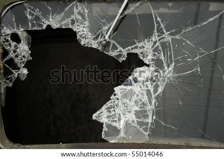 Broken windshield of an old rusty pickup truck in the palouse farming region. - stock photo