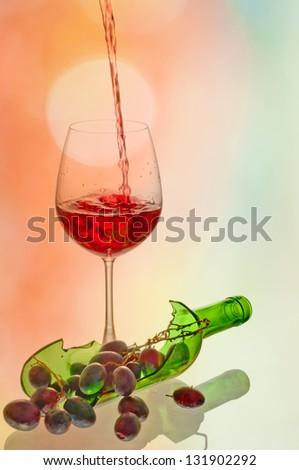 Broken  Wine bottles - stock photo
