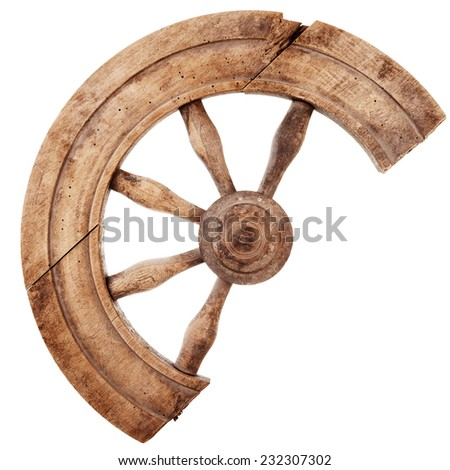Broken wooden vintage spinning wheel isolated on white background - stock photo