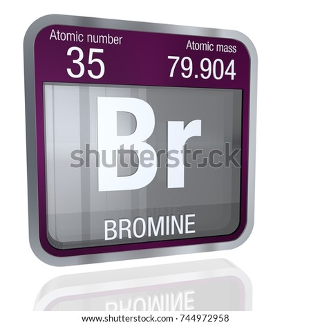 Bromine Symbol Square Shape Metallic Border Stock Illustration