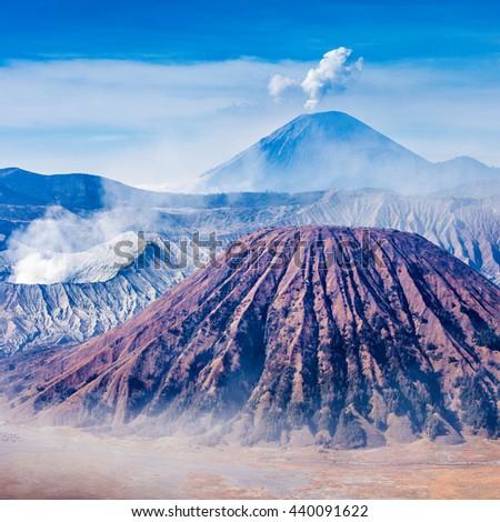 Bromo, Batok and Semeru volcanoes, Java island, Indonesia - stock photo