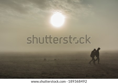 Bromo desert in east java , indonesia - stock photo