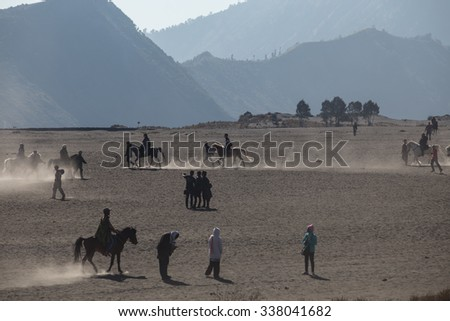 BROMO JAVA,INDONESIA - OCT 13,2015 : Horse riding service around Bromo