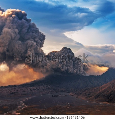 Bromo Volcano at East Java in the eruption time, Indonesia. - stock photo