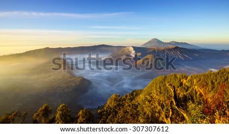 Bromo volcano at sunrise,Tengger Semeru national park, East Java, Indonesia - stock photo