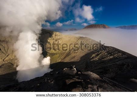 Bromo volcano crater - stock photo
