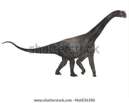 Brontomerus Side Profile 3D Illustration - Brontomerus was a herbivorous sauropod dinosaur that lived in the Cretaceous Period of Utah, USA.