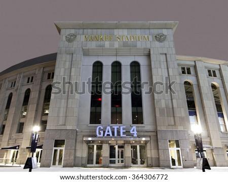 BRONX, NEW YORK - FEBRUARY 20:  Yankee Stadium at night in winter.  Taken February 20, 2015, in the Bronx,  New York. - stock photo