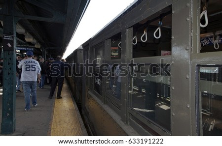 BRONX, NEW YORK, USA - APRIL 10:  A vintage Low Voltage train from the early 1900's  stops at Yankee Stadium for opening day game.  Taken April 10, 2017 in New York.